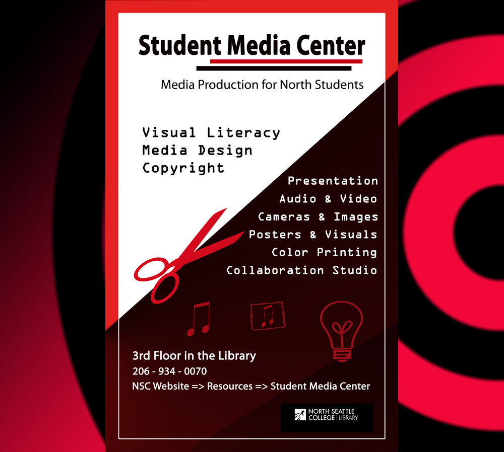 SMC poster: Media Production for North Students - Visual Literacy, Presentation, Poster&Visuals, Audi&Video, Media Equipment, Color Printing, Studios