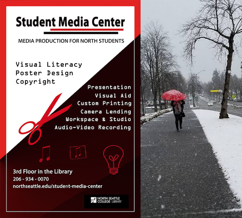 SMC, Media Production for North Students: Presentations, Visual projects, Audio and video recording, Media software access/use, Media equipment, Printing, Media literacy including basic design and copyright